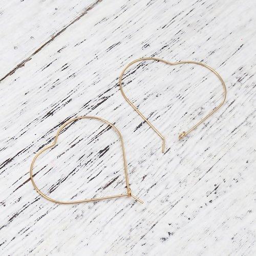 10 x boucle d'oreille créole coeur 50mm x 50mm en acier inoxydable doré