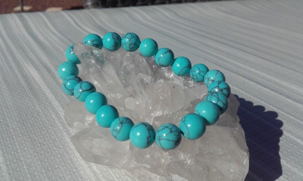 Bracelet élastique pierres turquoises