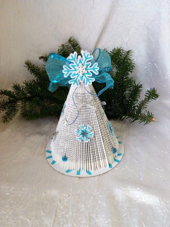 L'arbre de Noël étoile des neige en papier de Livre Plié pour centre de table de noël ou cadeau a offrir