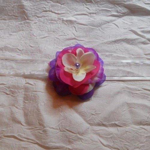 "Collier ruban fleur couleur blanc /violet /fushia ""cortège mariage"""