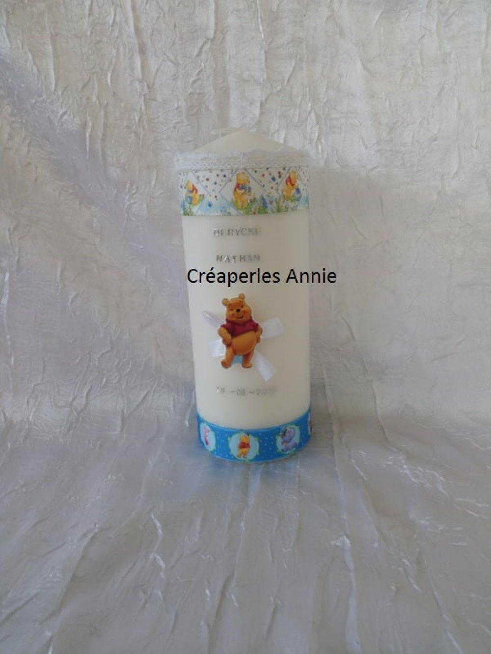 Bougie de décoration pour baptême thème l'ourson