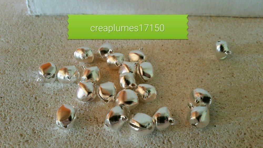 lot de 20 grelots clochettes argenté breloques scrapbooking 14mm
