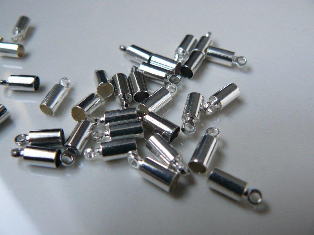 Lot de 30 Embouts à coller Argenté pour Cordon 9x3 trou 1,5mm