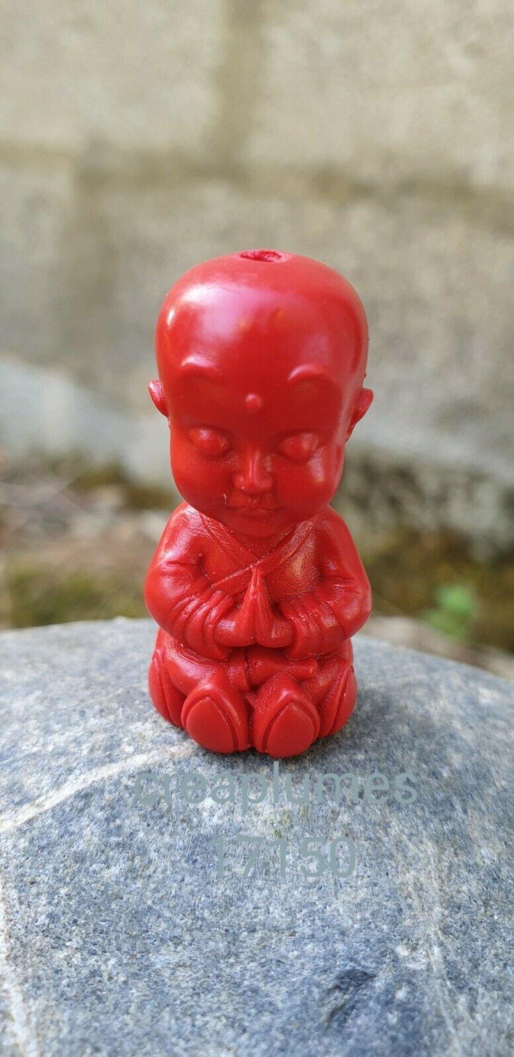 Perle de Cinabre moine bouddhiste 36.5x18x17.5 trou 3mm