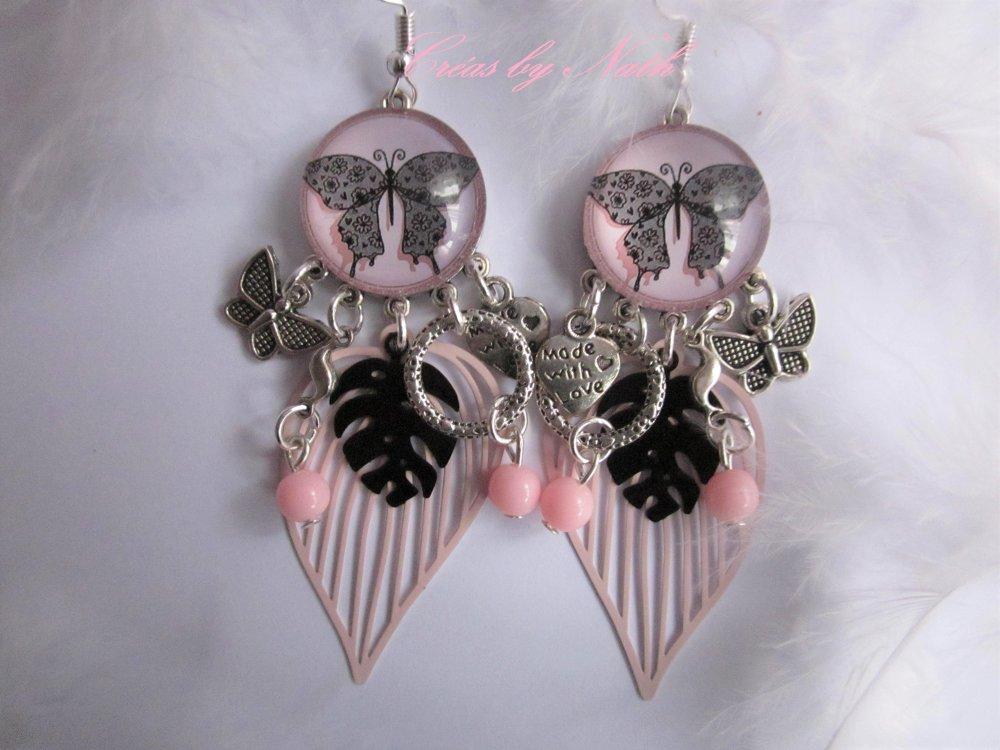 Boucles d'oreilles : Papillon de dentelle