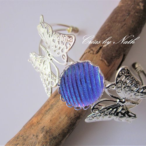 Bracelet jonc 2 papillons violet