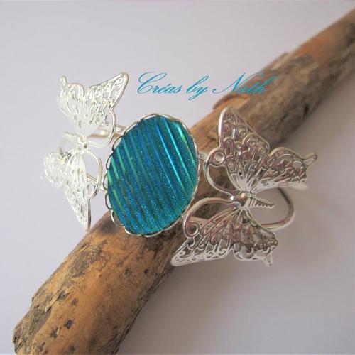Bracelet jonc 2 papillons bleu