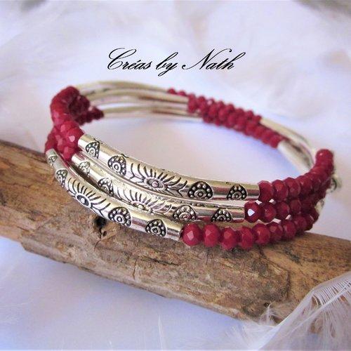 Bracelet mémoire de forme rouge et petits coeurs