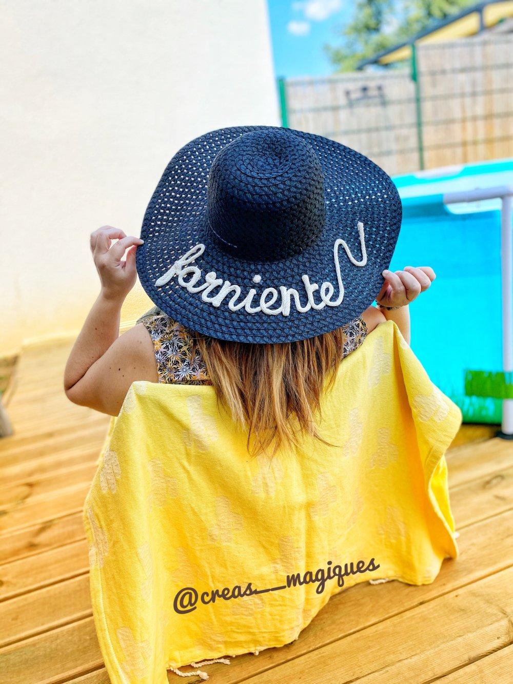 Chapeau de Paille Femme personnalisé, à bord large , capeline, Marbella