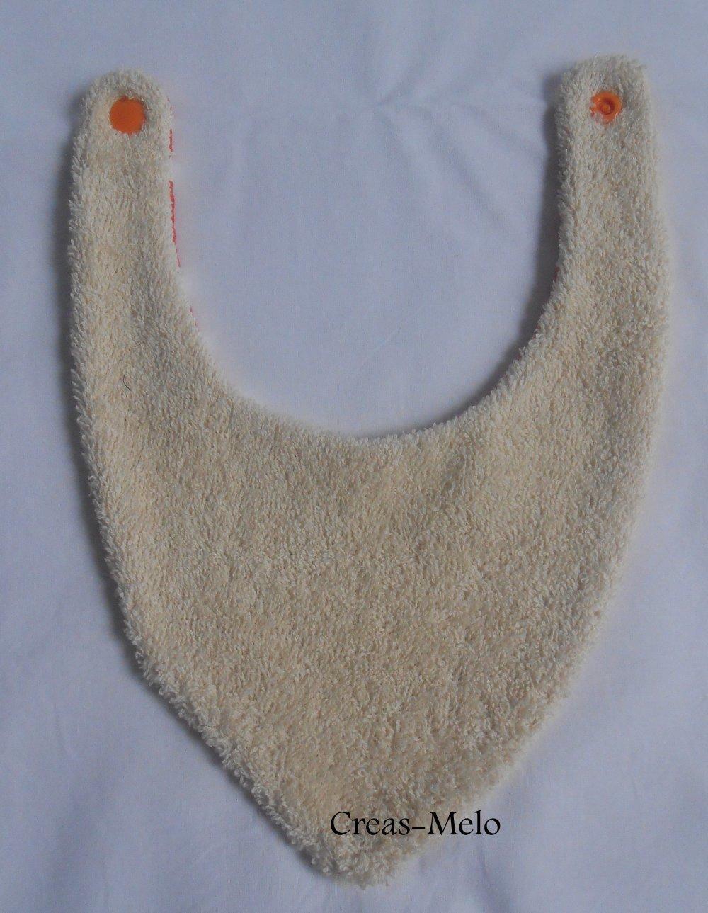 Bavoir bandana orange moustache