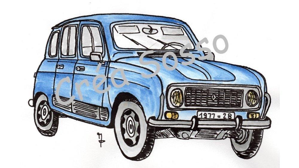 Porte Cles Dessin Voiture Ancienne Renault 4l Un Grand Marche