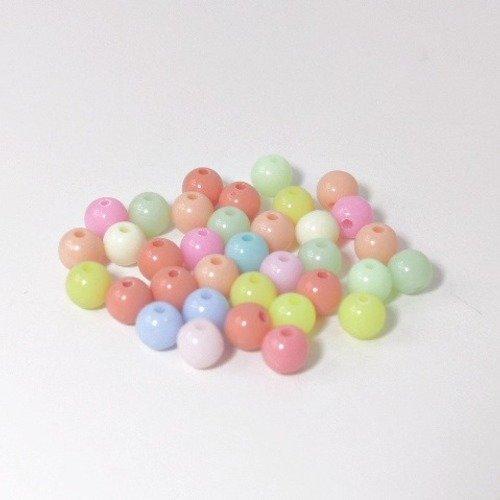 Lot de 30 perles mixte de couleurs pastels 6 mm