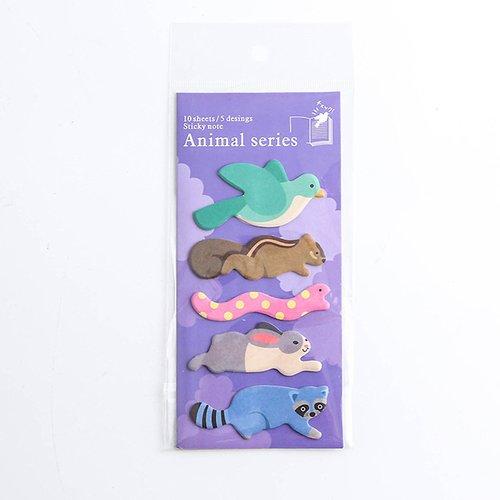 Sticky notes kawaii oiseau écureuil serpent lapin raton laveur
