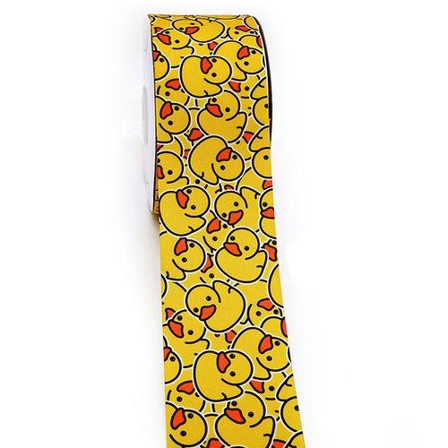 Ruban gros grain petits canards jaunes 25mm vendu au mètre
