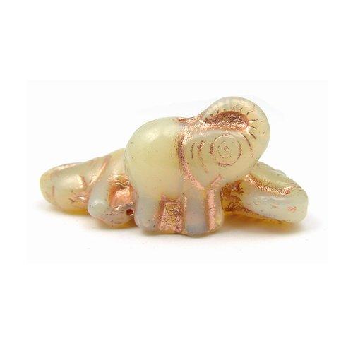 2 perles en verre tchèque éléphant 21x20mm