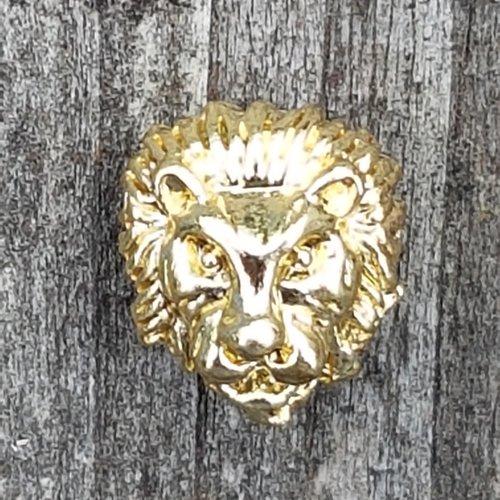 2 tetes de lion or brillant