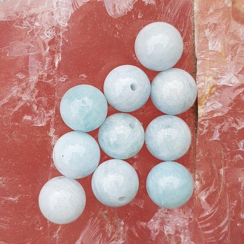 10 perles aigue marine bleu turquoise  8 mm grade ab ref 1