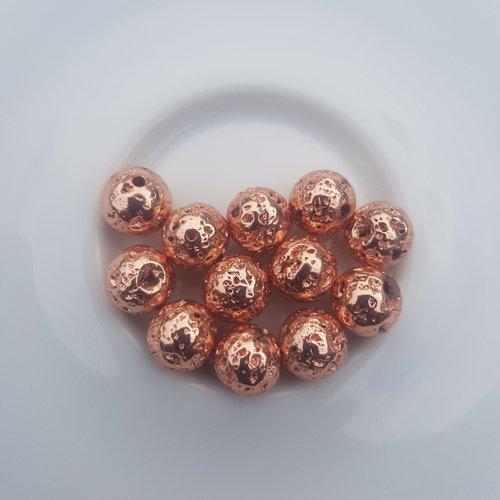 12 perles lave couleur rose doree 8,5 mm