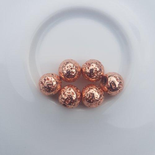 6 perles en lave couleur rose doree 8,5 mm