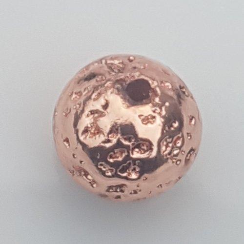 1 perle lave couleur rose doree 8,5 mm