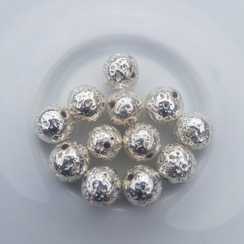 12 perles lave couleur argent dore 8,5 mm