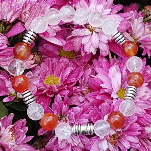 Bracelet cornaline -  cristal de roche craquele 8 mm / accesoires metals