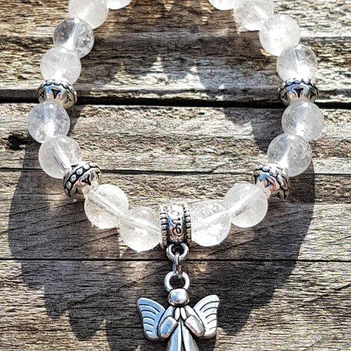 Bracelet pendentif ange cristal de roche craquele 8 mm