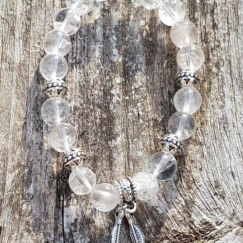 Bracelet pendentif double plumes cristal de roche craquele  8 mm