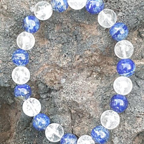 Bracelet duo lapis lazuli - cristal de roche craquele 8 mm