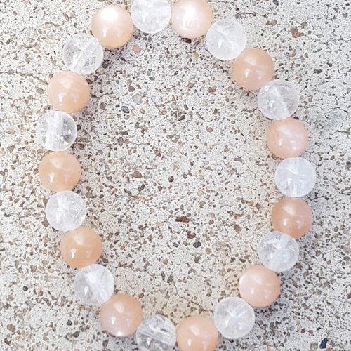 Bracelet duo pierre de lune - cristal de roche craquele 8 mm