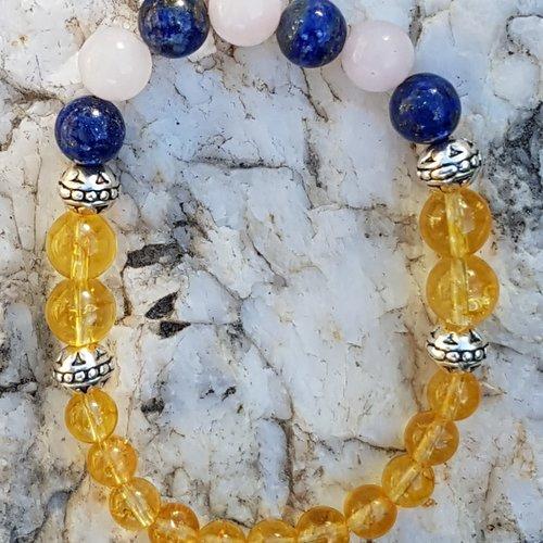 Bracelet multicolor citrine - lapis lazuli - quartz rose 6 - 8 mm / metal