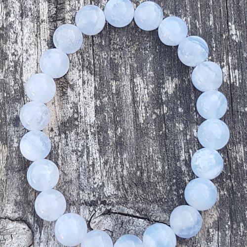 Bracelet agate blue lace 8 mm