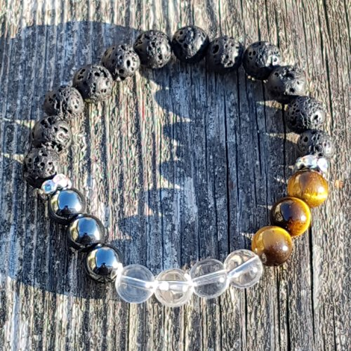 Bracelet multicolor hematite - cristal de roche clair - oeil de tigre 8 mm / strass
