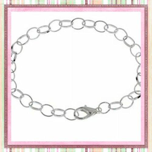 X2 bracelets métal argentés 20cm