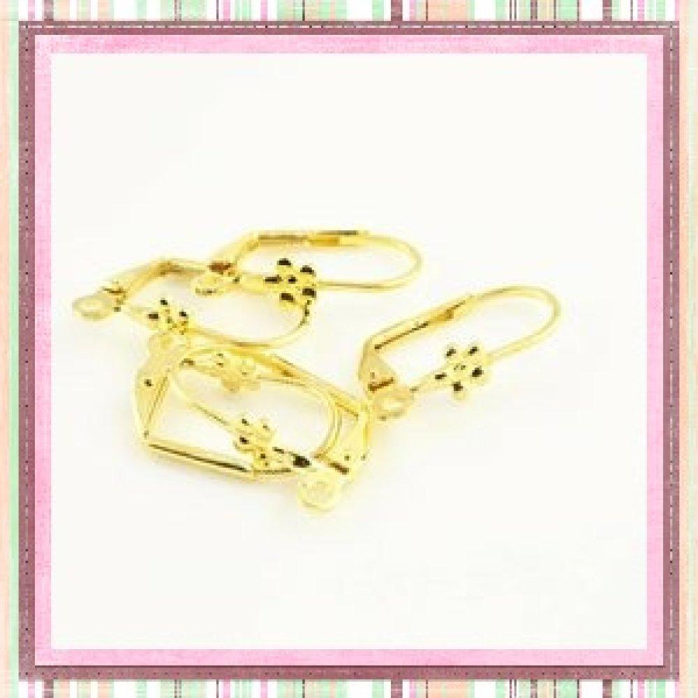 X10 Supports boucles d'oreilles motif fleur dorés