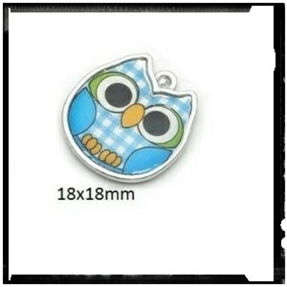 Breloque hibou bleu émail 18mm