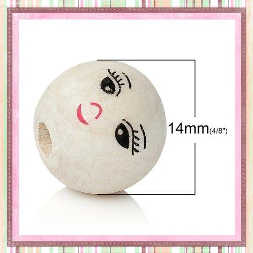 X2 grosses perles rondes bois visage 14mm
