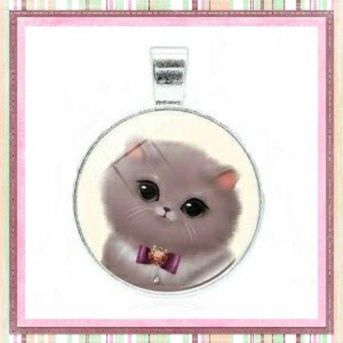 Grand pendentif chat gris 25mm