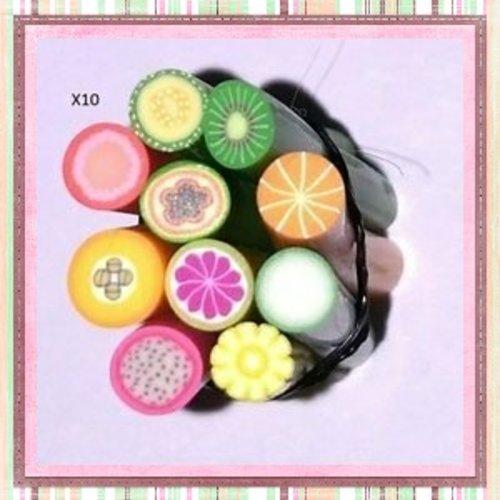 X10 canes fimo mix fruit