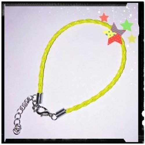 Bracelet tressé simili cuir jaune flashy 18cm