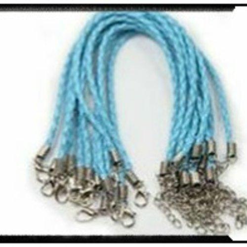 Bracelet tressé simili cuir bleu clair 18cm