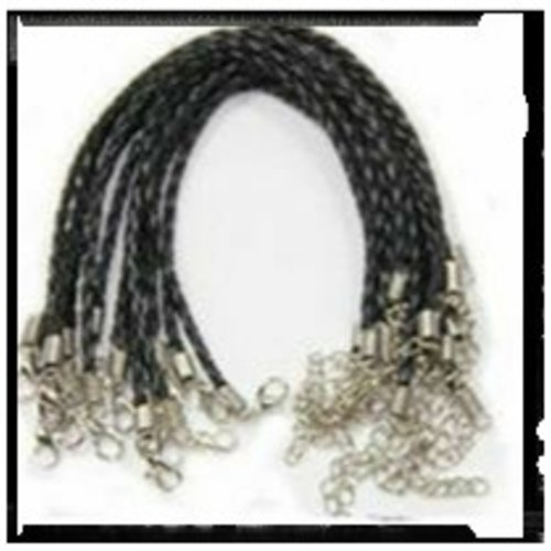 Bracelet tressé simili cuir noir 18cm