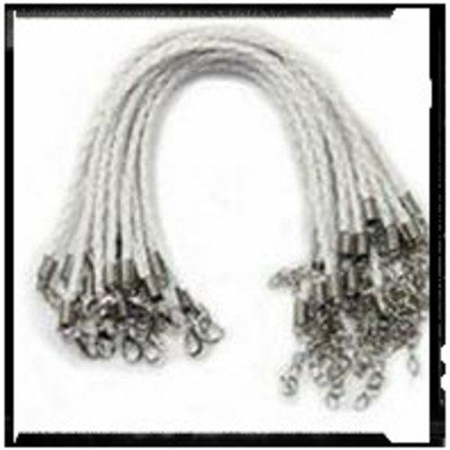 Bracelet tressé simili cuir blanc 18cm