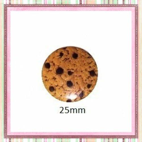 Cabochon coque métal cookie 25mm