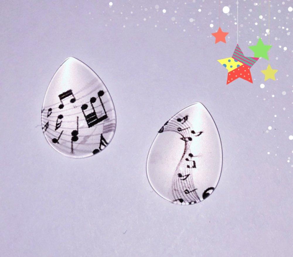 X2 cabochons en verre goutte note de musique 13x18mm