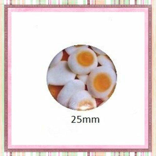 Cabochon coque métal bonbon oeuf  25mm
