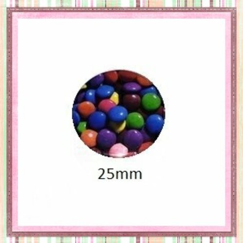 Cabochon coque métal bonbon multicouleur chocolaté   25mm