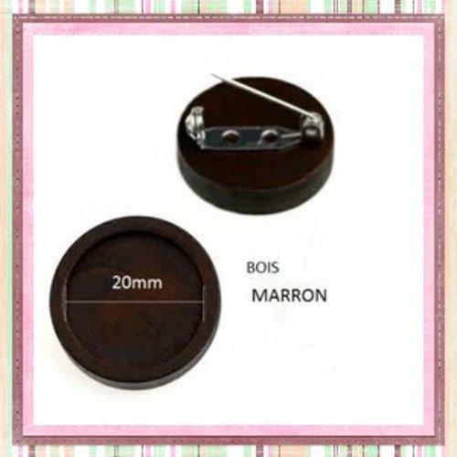 Broche en bois marron fonce  pour cabochon 20mm