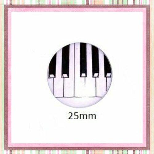 Cabochon coque métal touche piano 25mm