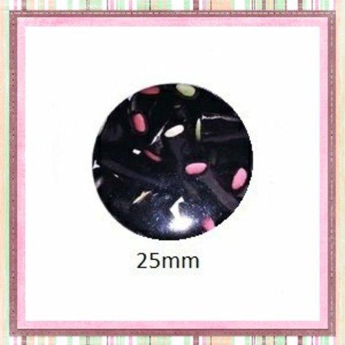 Cabochon coque métal bonbon réglisse fourré  25mm